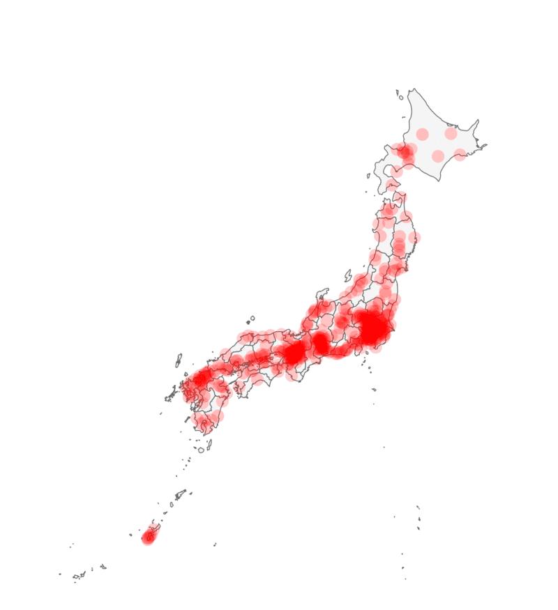 bản đồ mật độ dân cư nhật bản